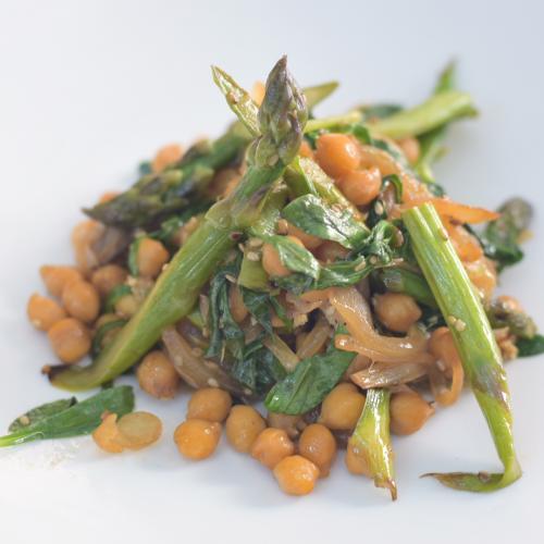 wok de garbanzos y hortalizas